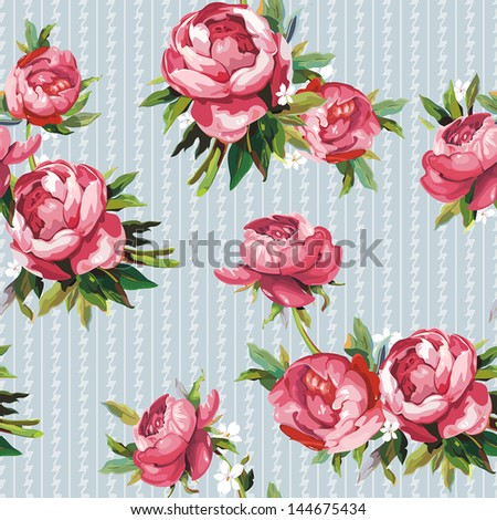 Elegance Seamless color peony pattern on background, vector illustration - stock vector