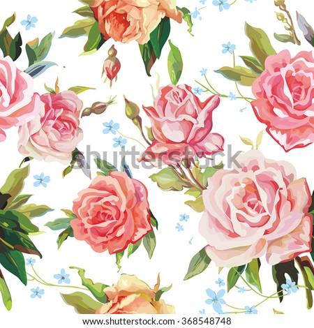 Elegance Seamless color rose pattern on white background, vector illustration - stock vector