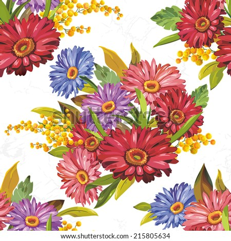 Elegance Seamless Gerbera pattern on light background, vector illustration - stock vector