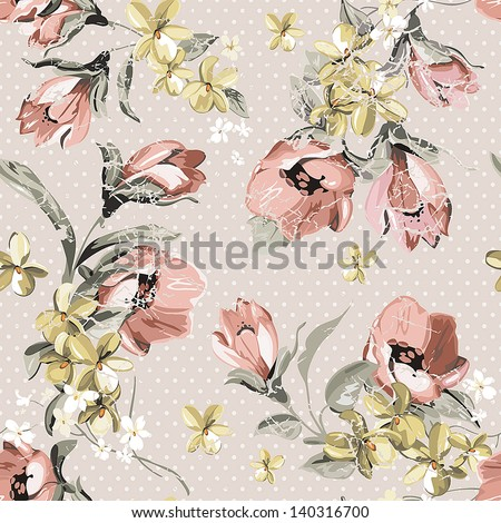 Elegance Seamless pattern in retro style with flowers. Abstract beautiful vector illustration texture - stock vector