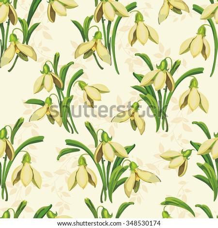Elegance Seamless pattern of snowdrops, vector illustration - stock vector