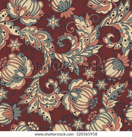 elegance seamless pattern with ethnic flowers, vector floral illustration in vintage style