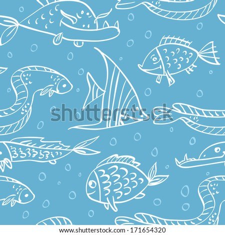 Elegance Seamless pattern with fish in the sea, vector ornament illustration in vintage style