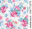Elegance Seamless pattern with flowers. Fashion illustration texture in vintage style with roses. - stock