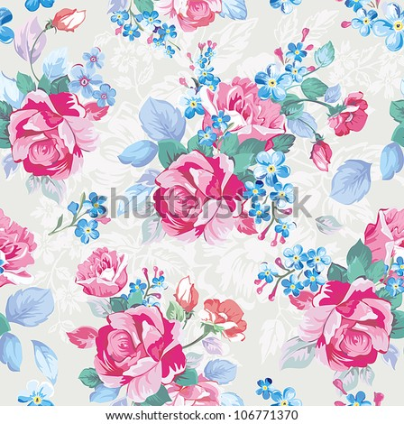 Elegance Seamless pattern with flowers. Fashion illustration texture in vintage style with roses.