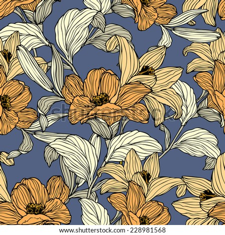 Elegance Seamless pattern with flowers lily, vector floral illustration in vintage style - stock vector