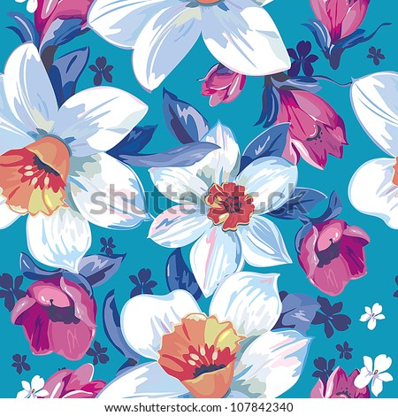 Elegance Seamless pattern with flowers narcissus on blue background, vector floral illustration in modern style - stock vector