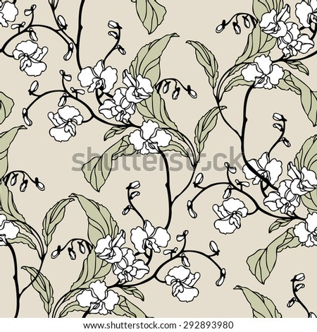 Elegance Seamless pattern with flowers orchids, vector floral illustration in vintage style - stock vector