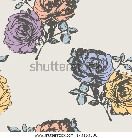 Elegance Seamless pattern with flowers rose. Vector floral illustration - stock vector