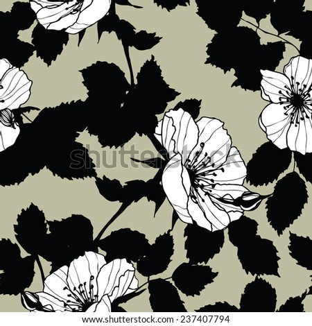 Elegance Seamless pattern with flowers roses, floral illustration in vintage style - stock vector