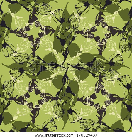 Elegance Seamless pattern with flowers tulips, vector floral