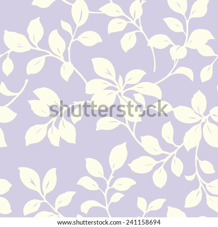 Elegance Seamless pattern with leaf ornament, vector floral illustration in vintage style - stock vector
