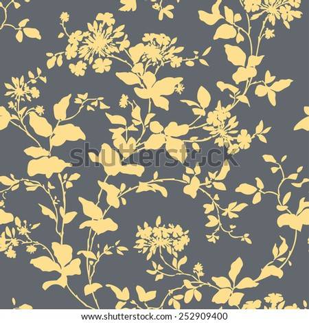 Elegance Seamless pattern with ornament, vector floral illustration in vintage style - stock vector