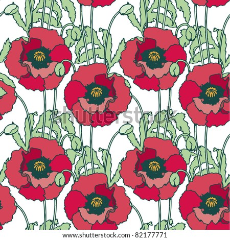 Elegance Seamless pattern with poppy flowers, vector floral illustration in vintage style - stock vector