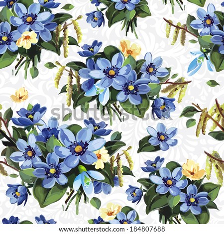 Elegance Seamless vintage flower pattern, vector illustration - stock vector