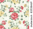 Elegance Seamless wallpaper pattern with of pink roses, vector illustration - stock vector