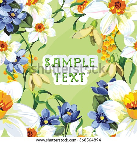 Elegance vector illustration with flowers on spring background - stock vector