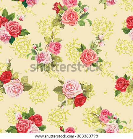 Elegance vector texture with roses. Stylish beautiful floral seamless pattern - stock vector