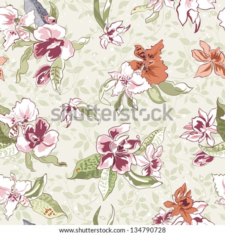 Elegance Vintage floral seamless pattern on beige background, vector illustration