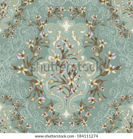 Elegance Vintage Seamless floral background  - stock vector