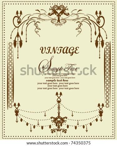 elegance vintage vector frame - stock vector