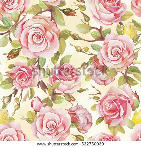 Elegance Wallpaper With Of Pink Roses Vintage Decorative Seamless Pattern Bouquet