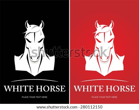 Elegance wild horse head icon. front view of white horse icon. Elegant White horse head Suitable for your mascot, corporate identity, illustration for apparel. etc. - stock vector
