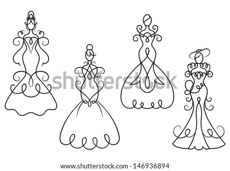 Elegance woman dresses in retro style for wedding ceremony design or idea of logo. Jpeg version also available in gallery - stock vector