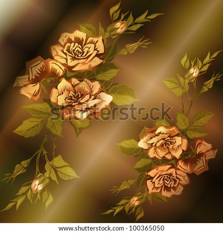 elegant abstract vector background in ancient style with a flower ornament - stock vector