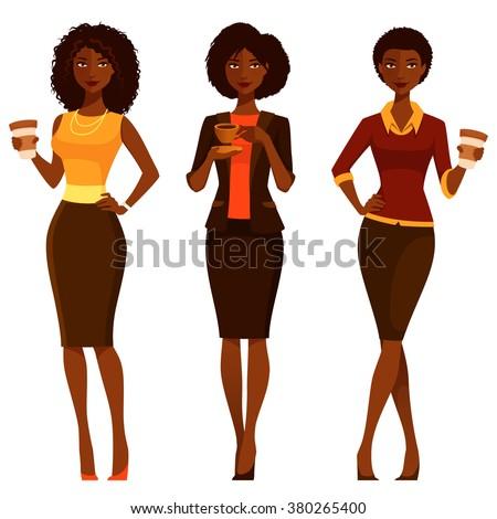 elegant African American women enjoying coffee - stock vector