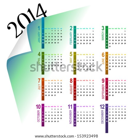 elegant and colorful 2014 calendar design on light background - week starts with sunday  - stock vector
