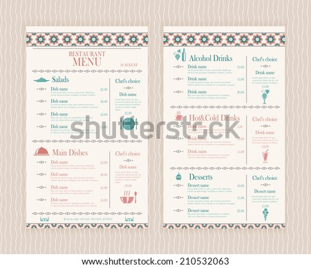 Restaurant Menu Background Stock Images, Royalty-Free Images