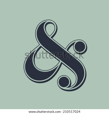 Elegant and stylish ampersand symbol for wedding invitation. Vector illustration - stock vector