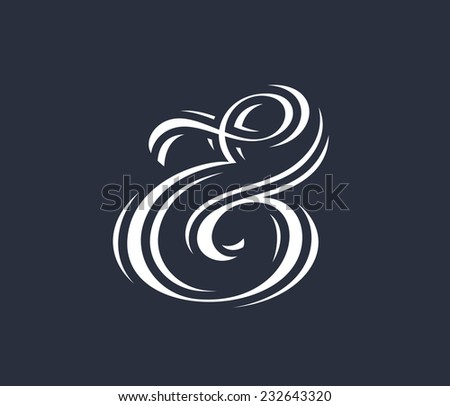 Elegant and stylish custom ampersand for print template, invitation or greeting card. Vector illustration - stock vector