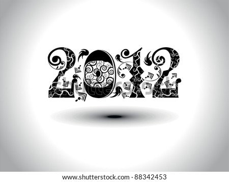 elegant & artistic work design for upcoming new year celebration with text 2012 - stock vector