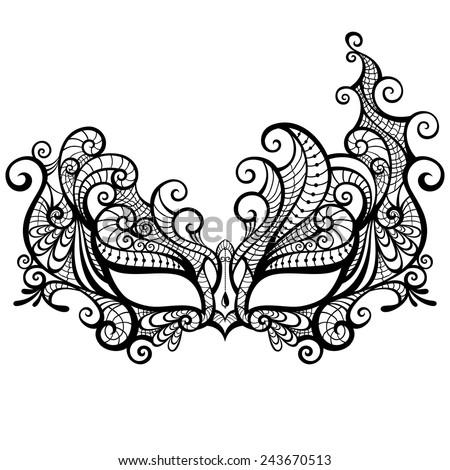 Elegant Asymmetrical Lace Masquerade Mask Isolated On White Background.  Vector Illustration