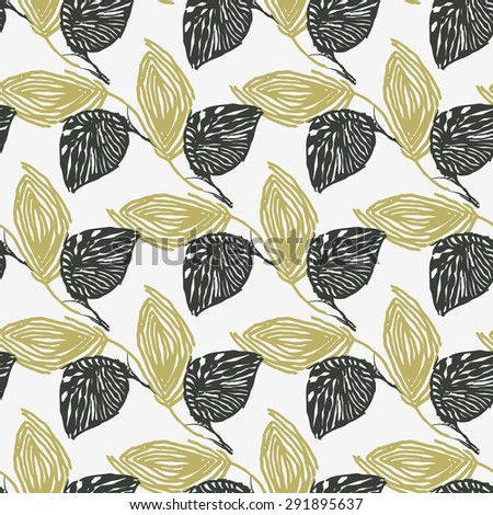 Elegant background of black and gold leaf on a white background.Seamless.