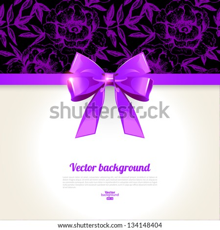 Elegant background with bow and hand drawn roses pattern - stock vector