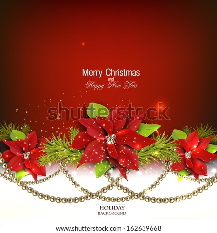 Elegant  background with Christmas garland. Vector illustration - stock vector