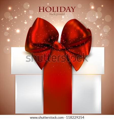 Elegant background with Christmas gift - stock vector
