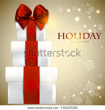 Elegant background with Christmas gifts - stock vector