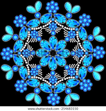 Elegant background with circular ornament of precious stones - stock vector