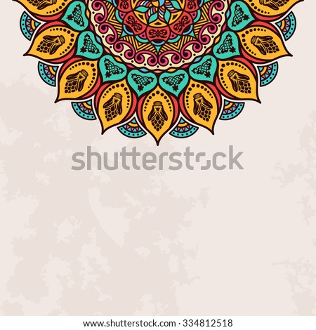 Elegant background with lace ornament and place for text. Floral elements, ornate background, mandala. Vector illustration - stock vector