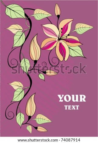 elegant background with pure flowers - stock vector
