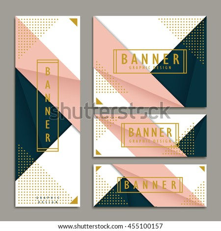 elegant banner template design set in origami style - stock vector
