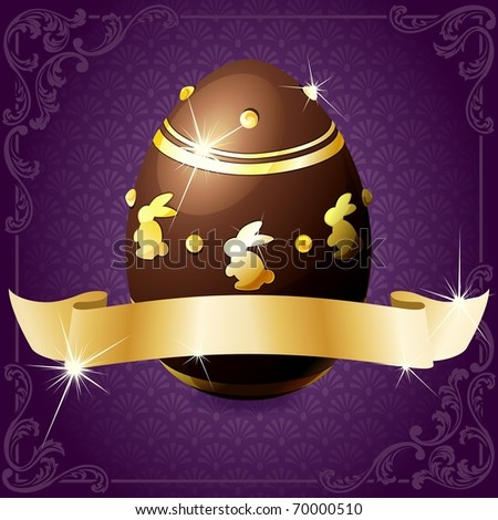 Elegant banner with chocolate egg in purple and gold (eps10); jpg version also available - stock vector
