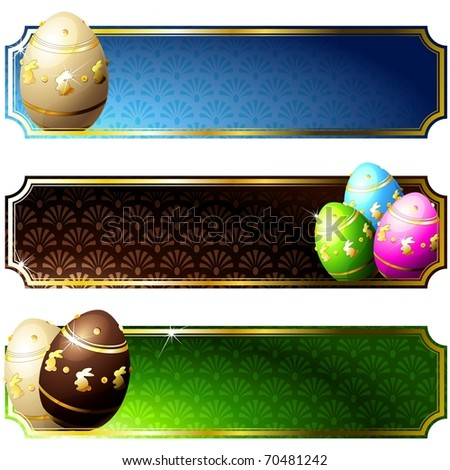 Elegant banners with gold-decorated chocolate eggs (eps10); jpg version also available - stock vector
