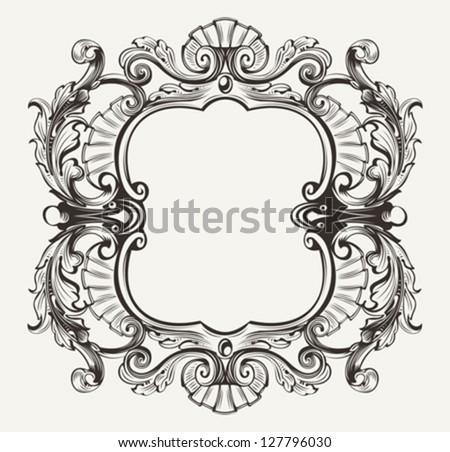 Elegant Baroque Ornate Curves Engraving Frame - stock vector