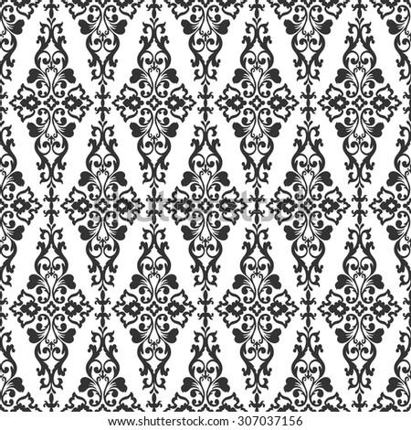 Elegant Black And White Damask Wallpaper Vintage Pattern Seamless Classic Background