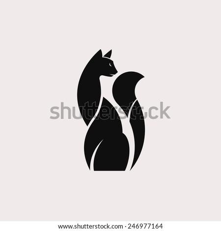 Elegant black cat. Vector - contour domestic cat - stock vector